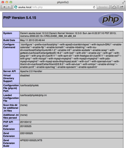 PHP 5.4.15 на OS X Mountain Lion