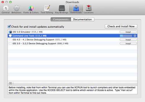 Установка Command Line Tools в Xcode 4.6.1